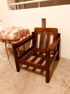 Vintage Wooden Chair antique smooth wood unique armchair