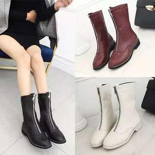 (35~40) Front zipper booties female Martin boots British wind chic students 2018 spring and autumn Korean boots