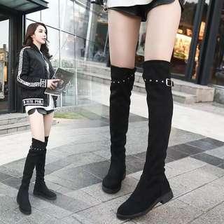 2018 Korean version of the knee long boots female over the knee high heel plus velvet elastic boots