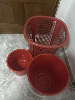 Laundry Basket & 2 Pots