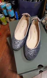 🚚 Grace gift 閃亮蝴蝶結芭蕾舞鞋 娃娃鞋 平底鞋