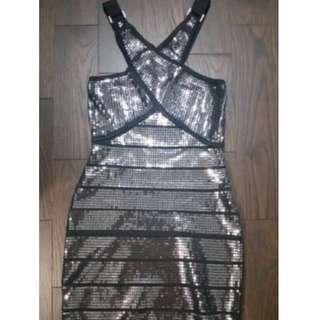 BNWT Bebe Black silver sequin bandage dress small
