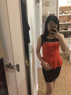 Peplum dress black & orange