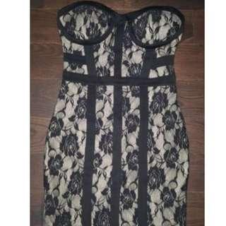 BNWT  Bebe sexy lace black nude dress small