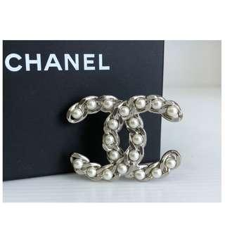 Authentic Chanel CC Pearl Brooch