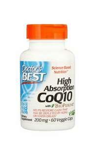 Doctor's Best, 輔酶Q10,添加胡椒素,200毫克,60素食膠囊 Doctor's Best, High Absorption CoQ10 with BioPerine, 200 mg, 60 Veggie Caps