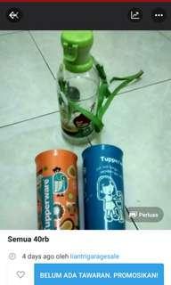 Gelas Tupperware dan botol minum