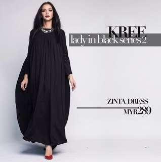 KREE ZINTA BLACK LONG DRESS / JUBAH