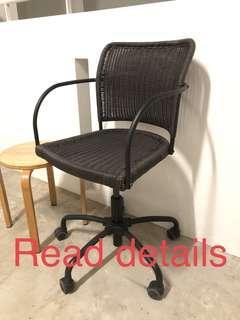Ikea Gregor black swivel rattan typist computer chair