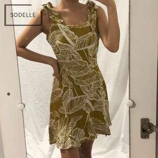 INSTOCKS Ruffle frill ribbon self tie spag cami flutter dress