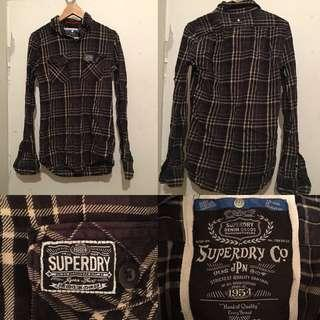 SUPERDRY Brown Checkered Button Up Top