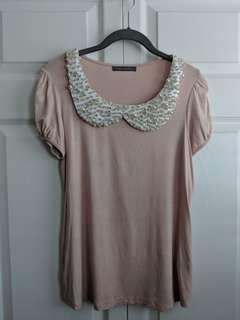 Pink Shirt with Neckline Accent