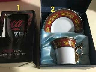 #blessing coke tumbler and chinese tea cup new in box