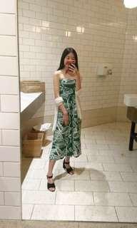 green leafy fruity jumpsuit pantsuit one piece bandeau strapless size 6 xs