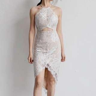Halter White Lace Dress