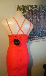 New Levora orange lace dress