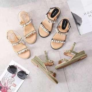 Korean sandals Rs: 480  Blk-35,37 and 39.    Cream-35,37,38 and 39.   Green-35 to 39.    Maliit sizes *l.k