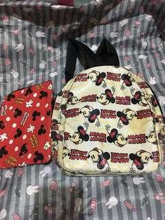 Preloved MiCkey backpack and pouch