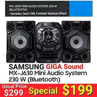 SAMSUNG GIGA Sound 2:1 Channel Bluetooth Sound System with Stadium Effect + Karaoke + Double USB to USB copying (Powerful 230 RMS) . Usual Price: $ 299. Special Price: $199