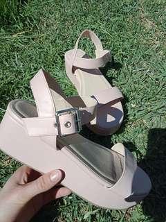 Pale pink platform sandals