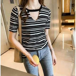 Ready Stock Ribbed Striped Top