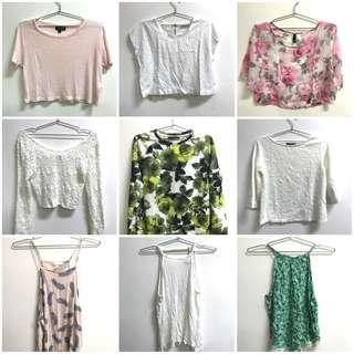Zara, Topshop, H&M tops all for 150 each only!