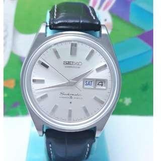 日本原裝SEIKO精工星期日期顯示,高寶石數35jewels,,不鏽鋼自動上鍊機械男錶