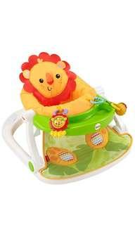 ~Ready Stocked~ Fisher-Price Sit-Me-Up Floor Lion Seat with Tray, rattle, teether