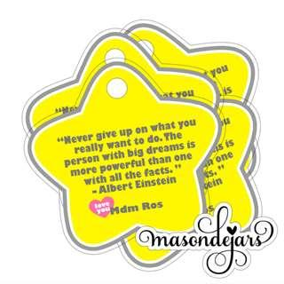 Customisable Hang Tags for Children Day goodie bag - Your own message printed ( Sticker Labels as well )