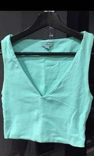 Kookai Tiffany blue cropped v neck singlet top