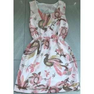 Woman Dress with Peacock Prints Size S - Excellent Condition