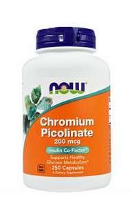 Now Foods, 吡啶甲酸鉻,200微克,250粒膠囊。 Now Foods, Chromium Picolinate, 200 mcg, 250 Capsules
