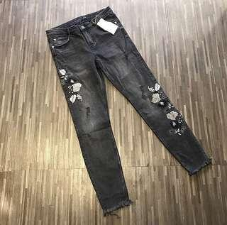 Zara embroided jeans