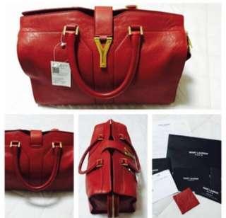 Authentic YSL Saint Laurent Chyc cabas red medium calfskin leather tote handbag