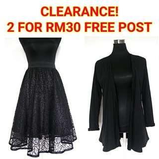 CLEARANCE! Lace Skirt + Black Cardigan