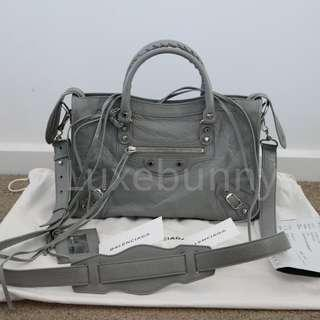 Authentic brand new Balenciaga classic silver city s bag in grey