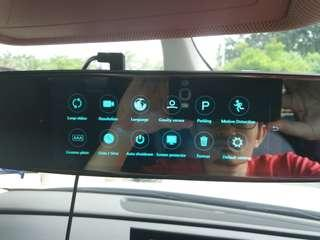 DVR dual lens (front and rear) camera for car with rear mirror touch screen