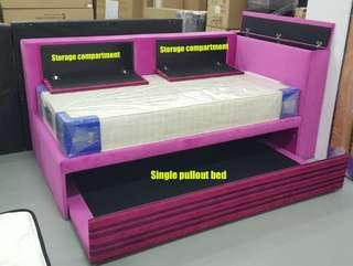 Bedframe with storage and pullout
