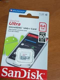 🚚 展碁公司貨 全新 Sandisk MicroSD 64GB 記憶卡 終保