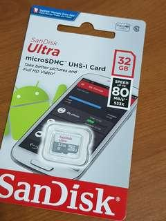 🚚 展碁公司貨 全新 Sandisk MicroSD 32GB 記憶卡 終保