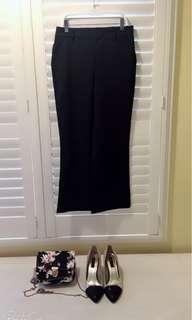 🚚 我的法式優雅 🍁素面口袋九分褲 寬褲 黑色 顯瘦 鬆緊設計  Less is more