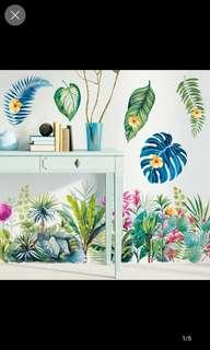 Wall stickers tropical plants leaves baseboard door bedroom porch wall decorations stickers pastoral wind wall stickers