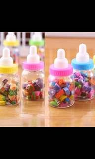 PO Brand New Mini Cute Cartoon Number Fruit 🍉 Rubber Pencil Eraser Children 👶 Stationery Gift Toy
