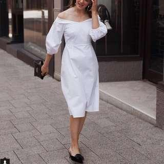 Friend of Audrey White Puff Sleeve Dress