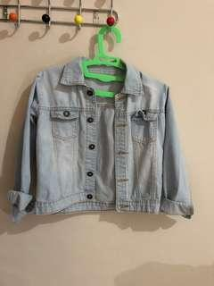 Jaket jeans biru muda light blue crop