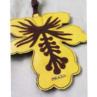 AUTHENTIC PRADA Hibiscus Flower Leather Bag Charm / Luggage Tag
