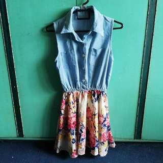 Denim sleeveless dress wiyh floral skirt
