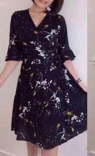 Navy Blue Floral Midi Dress #3x100