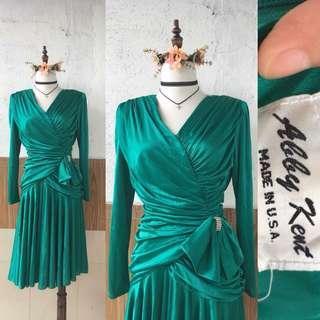 Abby Kent USA Vintage Green Dress