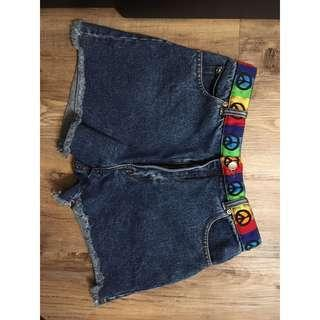 High Wasted Vintage Shorts - Rainbow